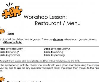 Workshop Lesson: Restaurants And Menus