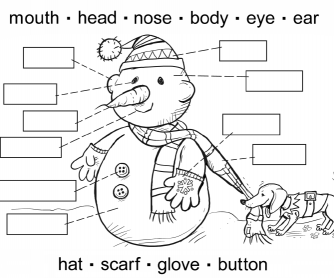 ESL Activity Sheet For Children – Label The Snowman