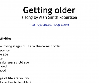 """Song worksheet: Getting Older (uses of the verb """"to get"""")"""