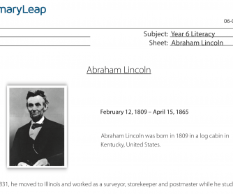 Reading Comprehension – Abraham Lincoln