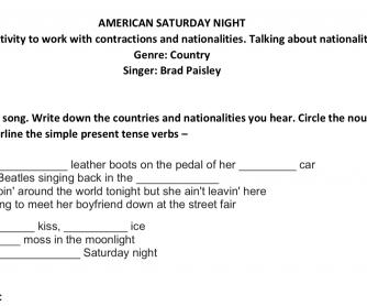 American Saturday Night Song Sheet