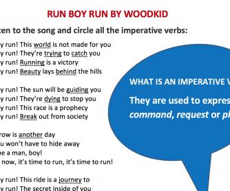 Run Boy Run By Woodkid Song Worksheet – Imperative Verbs