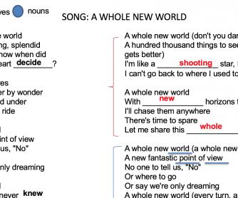 A Whole New World – Verbs, Adjectives & Nouns