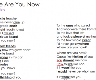 Where Are You Now? by Honor Society Song Worksheet