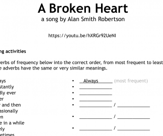 """Song Worksheet: """"A Broken Heart"""" – Adverbs of Frequency"""