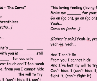 Breathless - The Corrs A1 Listening Practice with Music