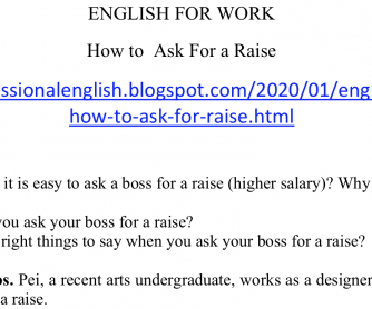 English for Work – How to ask for a Raise