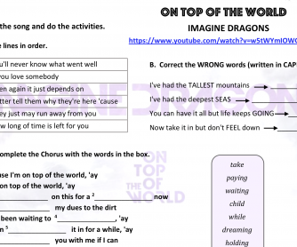 Song worksheet: On Top of the World