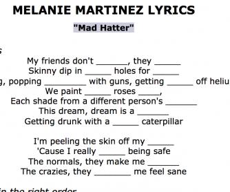 Song Worksheet Melanie Martinez – Mad Hatter