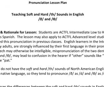 TESOL Lesson Plan – Teaching Soft and Hard /th/ Sounds