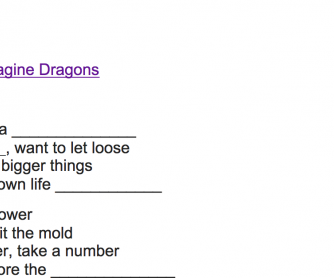 Thunder By Imagine Dragons Fill In The Blank Worksheet