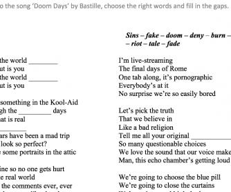 Song Worksheet C1 Adults – Doom Days (Bastille)