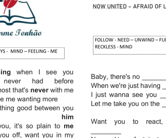 Song Worksheet – Now United – Afraid Of Letting Go
