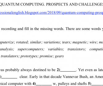QUANTUM COMPUTING. PROSPECTS AND CHALLENGES