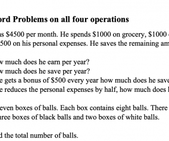 Grade 4 Word Problems on the four operations