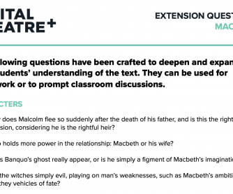 Extension Questions – Macbeth