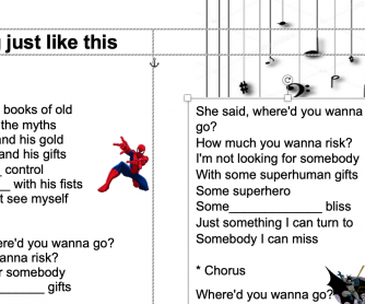 Something just like this song worksheet