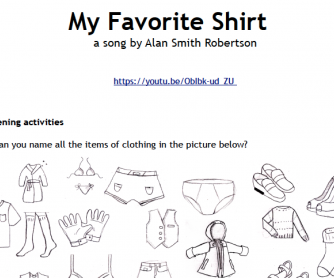 Song Worksheet: My Favorite Shirt (vocabulary: clothes)