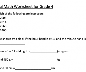 Mental Math for Grade 4