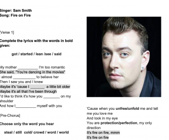 Song Worksheet: Sam Smith, Fire on Fire