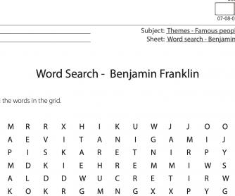 Benjamin Franklin – Word Search Activity