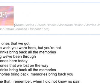 Song: Memories by Maroon 5 – Level A2