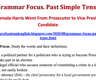 Past Simple Tense: How Kamala Harris Went From Prosecutor to Vice Presidential Candidate